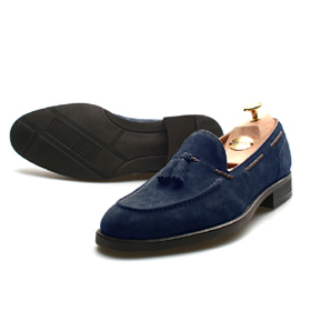 suede loafer shoes (Navy)