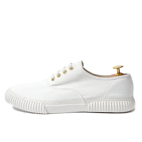minimal canvas sneakers (White)