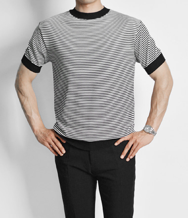 S/S Roter stripe knit tee (Black)